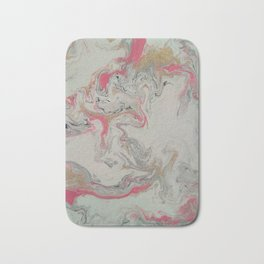 Pink and Gold Marble Print Bath Mat