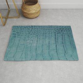 Croco leather effect - Aqua blue Rug