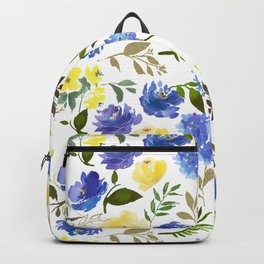 Hand painted yellow blue watercolor leaves floral pattern Backpack