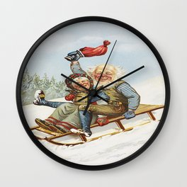 Vintage Christmas : Older Couple Wintry Fun 1890 Wall Clock
