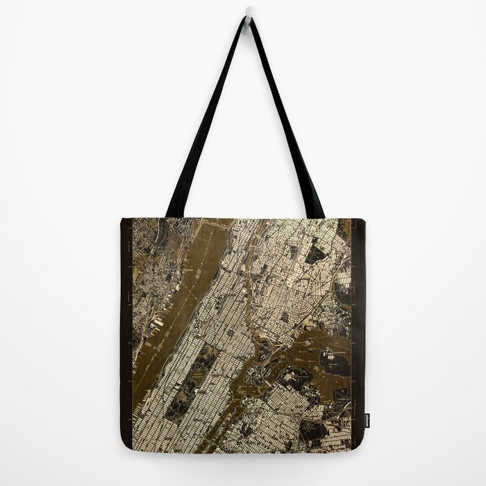 Central Park 1947, old vintage map, map poster new york Tote Bag