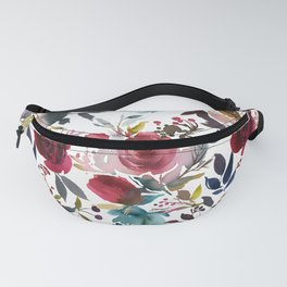 Hand painted burgundy coral teal watercolor botanical roses Fanny Pack