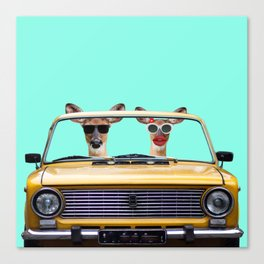 Two deer take a ride Canvas Print