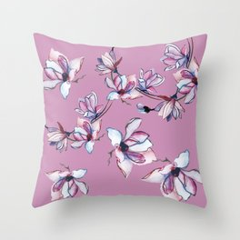 Pink watercolor flowers Throw Pillow