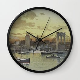 Vintage Pictorial View of NYC (1896) Wall Clock