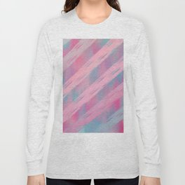 Pink blush tones geometrical artistic brushstrokes stripes Long Sleeve T-shirt