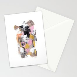 Modern abstract acrylic paint pink black gold salmon brushstrokes part 2 Stationery Cards