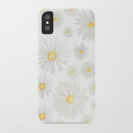 white daisy pattern watercolor iPhone Case