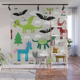 magic pattern with funny dragon bats unicorn horse deer bird wolf. illustration Wall Mural