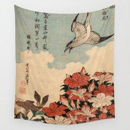 Hokusai Cuckoo and azaleas -hokusai,manga,japan,Katsushika,cuckoo,azaleas,Rhododendron Wall Tapestry