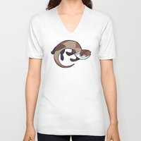 otter V-neck T-shirts featuring Otter by Jemma Salume