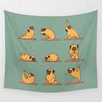 mad Wall Tapestries featuring Pug Yoga by Huebucket