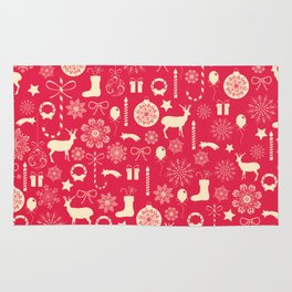 White Objects Christmas Pattern Rug
