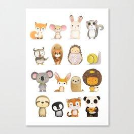 Mr. Lion, Mr. Squirrel & Their Friends Canvas Print