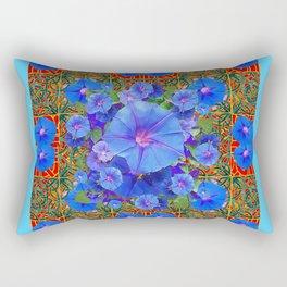 Baby Blue Modern Art  Blue Morning Glories Floral Art Rectangular Pillow