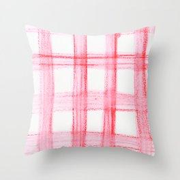 Red Watercolor Buffalo Plaid Throw Pillow