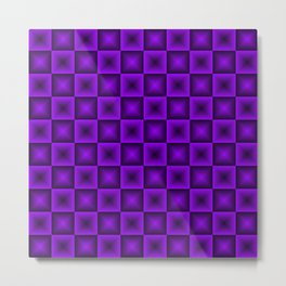 Chess tile of violet rhombs and black strict triangles. Metal Print