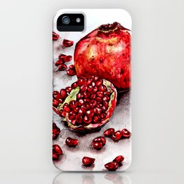 Red pomegranate watercolor art painting iPhone Case