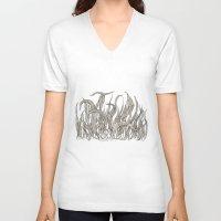 leaf V-neck T-shirts featuring LEAF by auntikatar