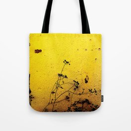 Minimal flora - Yellow wall and flowers Tote Bag