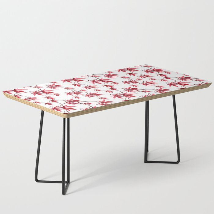 Watercolor Botanical Red Japanese Maple Leaves on Solid White Background Coffee Table
