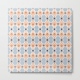 Modern Abstract Geometric Diamonds Line Art Pattern in Muted Classic Blues and Oranges Metal Print