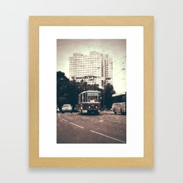 Tram on the street Framed Art Print