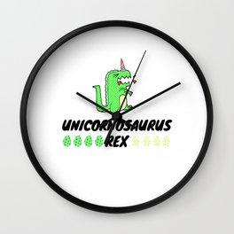 Unicornasaurus Rex in Field of Unicorns Wall Clock