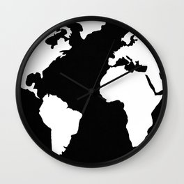 World Map White on Black Wall Clock