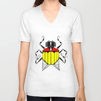 bug V-neck T-shirts featuring Bug by Okes