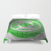 green lantern Duvet Covers featuring Green Lantern Shield Logo by ThreeBoys