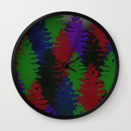 Misty Pine Trees Wall Clock