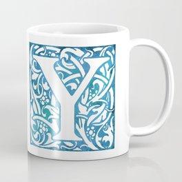 Letter Y Elegant Vintage Floral Letterpress Monogram Coffee Mug