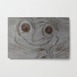 Wood Art Smily Metal Print