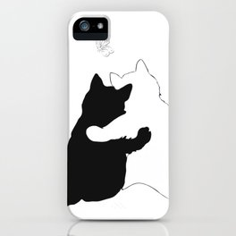 Black and white cats hugging floral decor iPhone Case