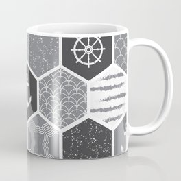 Black, white and gray geometric nautical symbols pattern Coffee Mug