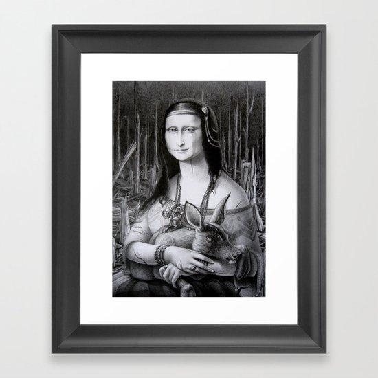 Mona Lisa in the forest Framed Art Print