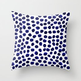 Indigo Spots dots minimal modern abstract painting boho dorm college decor monochromatic nautical Throw Pillow