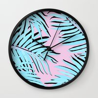 palm tree Wall Clocks featuring Palm tree by Hanna Kastl-Lungberg