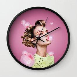 Woman with Bubblegum Wall Clock