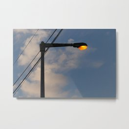 Street Lamp Post Evening Sky Metal Print