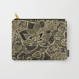 Elegant gold black hand drawn floral lace pattern  Carry-All Pouch