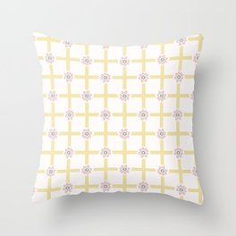 1950s Style Flower Daisy Gingham Seamless Pattern Throw Pillow