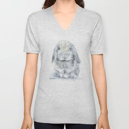 Mini Lop Gray Rabbit Watercolor Painting Unisex V-Neck