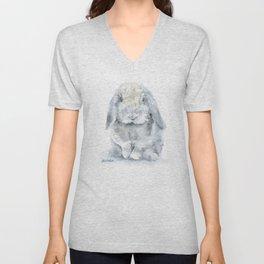 Mini Lop Gray Rabbit Watercolor Painting Unisex V-Neck
