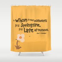 vonnegut Shower Curtains featuring Springtime by GiantEvilPizza