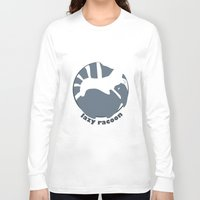 racoon Long Sleeve T-shirts featuring lazy racoon by Massimo Lanzi