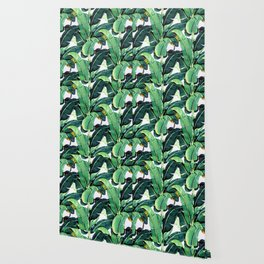 Tropical Banana leaves pattern Wallpaper