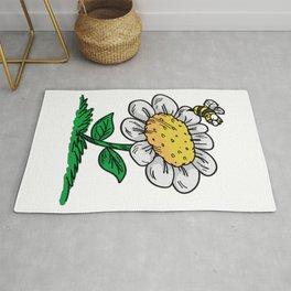 COMMON DAISY FLOWER Bee Cartoon Comic Rug