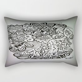 Crazy Eyeball Ink Doodle Rectangular Pillow